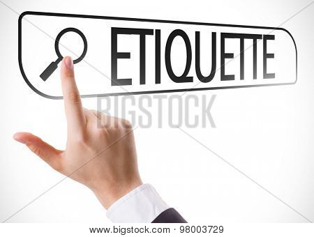 Etiquette written in search bar on virtual screen