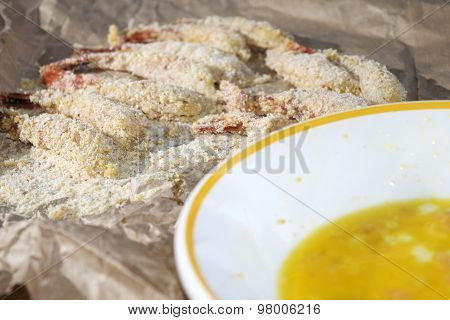 Beaten Egg And Battered Shrimps