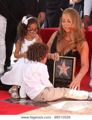 , LOS ANGELES - AUG 5:  Moroccan Cannon, Monroe Cannon, Mariah Carey at the Mariah Carey Hollywood Walk of Fame Ceremony at the W Hollywood on August 5, 2015 in Los Angeles, CA