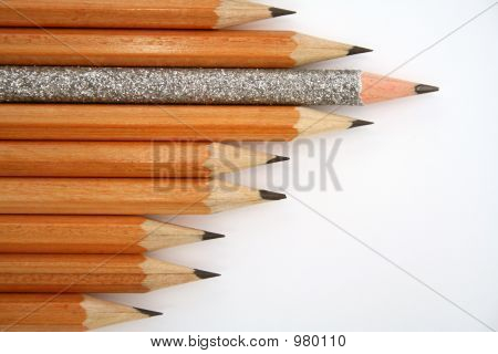 Celebratory Pencil Among Usual Pencils From Left