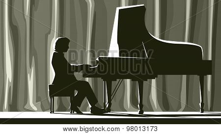 Silhouette Pianist In Concert Hall In Spotlight.