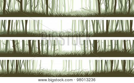Horizontal Banners Forest With Trunks And Clearing In Woods.