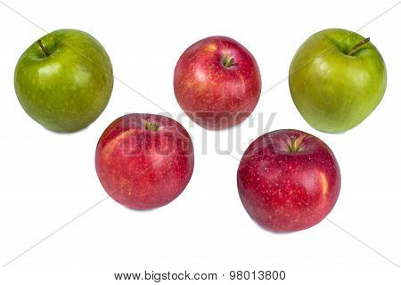 Five Apples On A White Background.