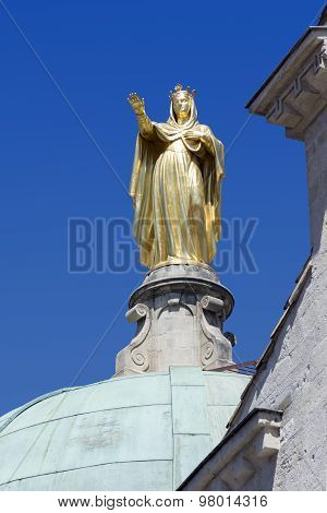 Golden Statue Of Saint Anne On The Cathedral Of Apt, France