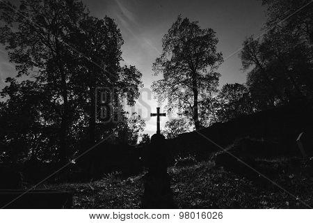 Monochrome Image Of A Cross In Graveyard