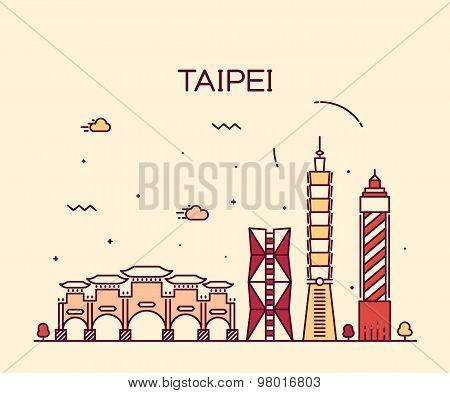 Taipei skyline Trendy vector illustration linear