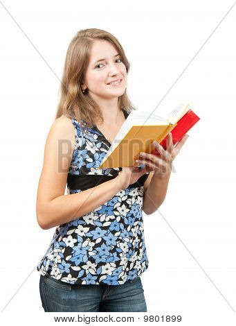 Schoolgirl With Books , Isolated Over White