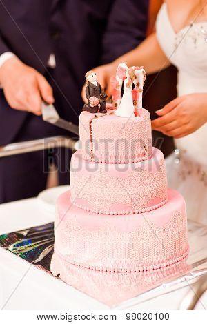 multi level pink wedding cake.