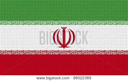 Flags Iran With Abstract Textures. Rasterized