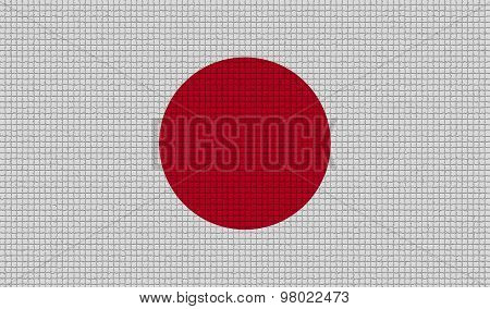 Flags Japan With Abstract Textures. Rasterized