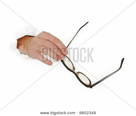 Hand Holds Glasse On White Background