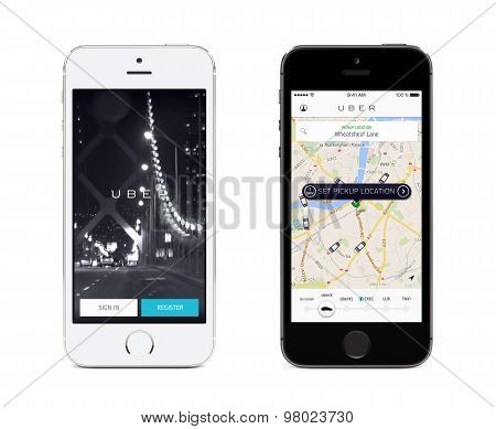 Uber App Startup Page And Uber Search Cars Map On The Front View White And Black Apple Iphones