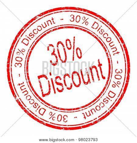 30% Discount rubber stamp