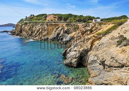 a view of the Mediterranean Sea and a cliffy landscape of the northeastern coast of Ibiza Island, in the Balearic Islands, Spain