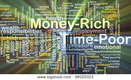 Background concept wordcloud illustration of money-rich time-poor glowing light