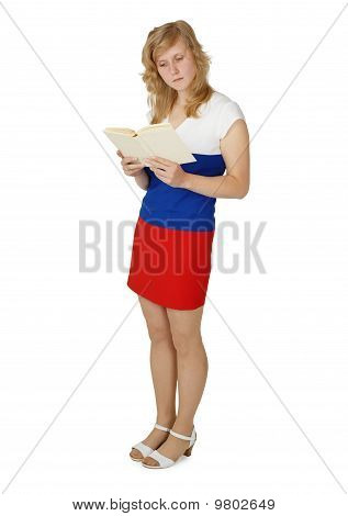 Female Student Reading A Textbook