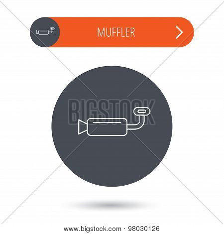 Muffer icon. Car fuel pipe or exhaust sign.