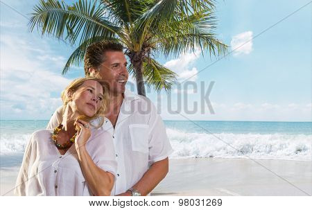 Couple of tourists on the beach in Thailand