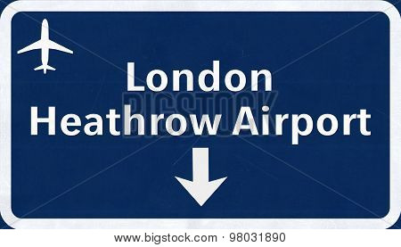 London Heathrow England United Kingdom Airport Highway Sign 2D Illustration poster