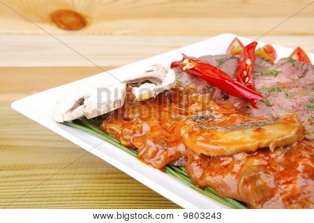 Hot Beef On White Plate