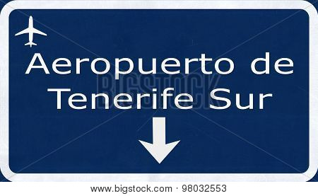 Tenerife Sur Spain Airport Highway Sign