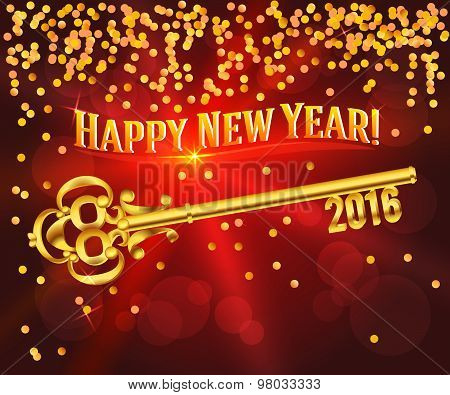 Happy New Year 2016 Gold Key Card Congratulations