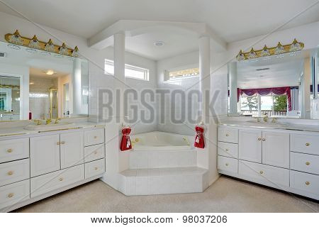 Luxury Bathroom With Large Jacuzzi Style Tub.