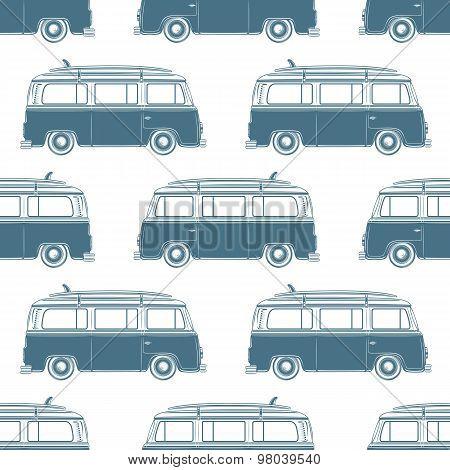 Retro vintage travel camper van with surfing board seamless pattern.