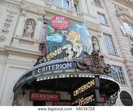LONDON- 3 AUG: The 39 steps is now showing for its 9th year at the famous criterion theatre, piccadilly, which is situated in londons west end. LONDON, 3 AUG, 2015.