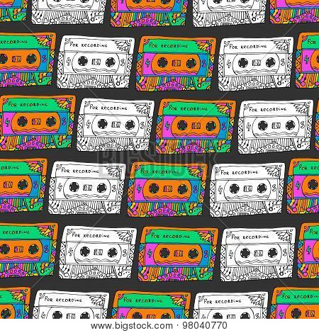 Retro seamless pattern with cassettes. Hipster fun style. Doodle musical background for wrapping, fa