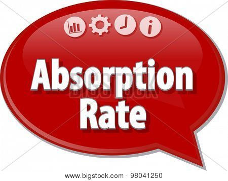 Speech bubble dialog illustration of business term saying Absorption Rate accounting