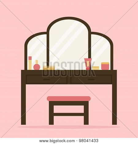 Woman dressing table with big mirror, chair and cosmetic.