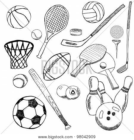 Sport Balls Hand Drawn Sketch Set With Baseball, Bowling, Tennis Football, Golf Balls And Other Spor