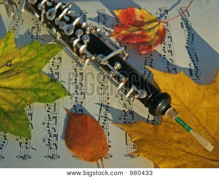 Oboe And Autumn Leaves On Music Page