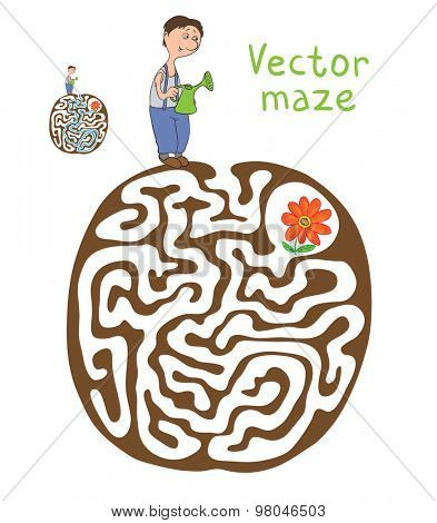 Vector Maze, Labyrinth education Game for Children with Gardener and Plant.