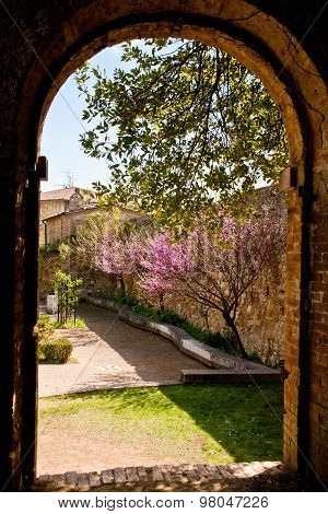 Old Stone Arch And Garden