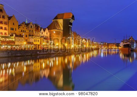 Harbour crane and city gate Zuraw, Gdansk, Poland