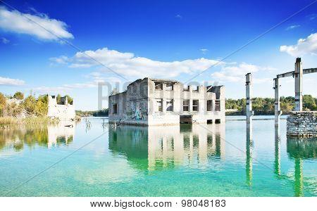 Industrial landscape abandoned buildings