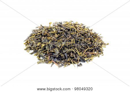 Heap Of Loose Green Tea Earl Grey On White