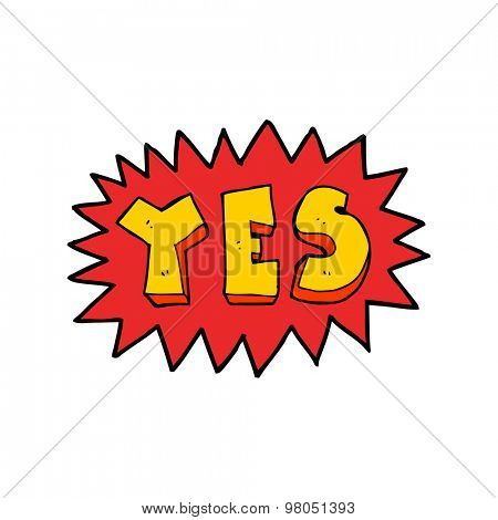 cartoon yes sign