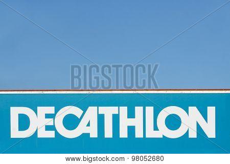 Decathlon sign on a wall