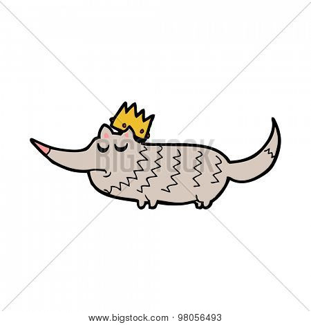 cartoon little wolf with crown