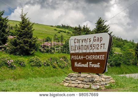Carvers Gap Sign