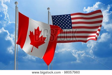 Canada and United States flags flying together for diplomatic talks
