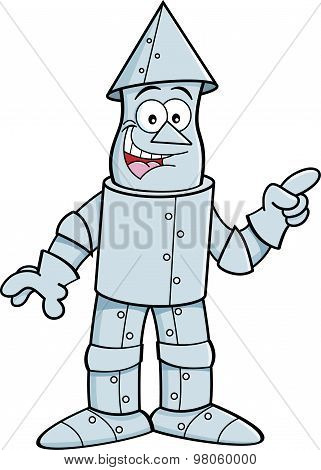 Cartoon tin man pointing.