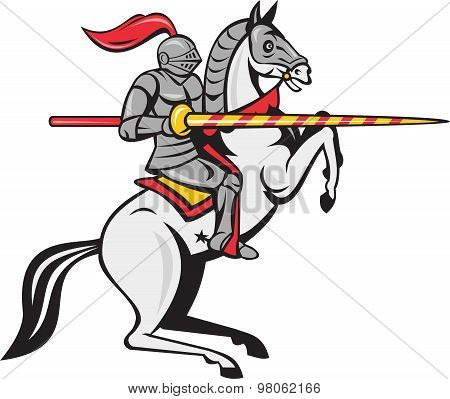 Knight Lance Steed Prancing Isolated Cartoon
