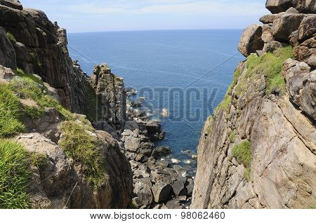 Beautiful landscape with mountain and sea in Dai Lanh lighthouse in Phu Yen, Vietnam poster