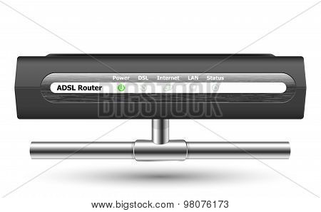 Adsl Router Icon With Network Connection. Vector Illustration