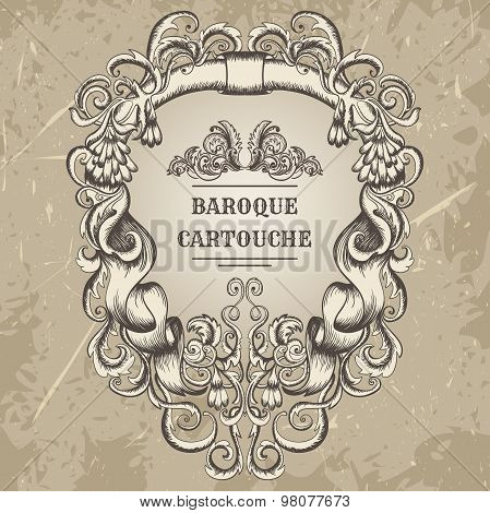 Antique and baroque cartouche ornaments frame. Vintage architectural details design elements on grun