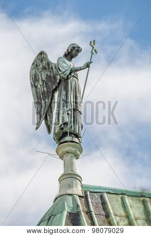 Statue Of Angel At Top Of Cathedral Our Lady Of Chartres, France